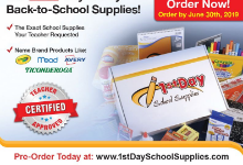 Order School Supplies before 6/30/2019