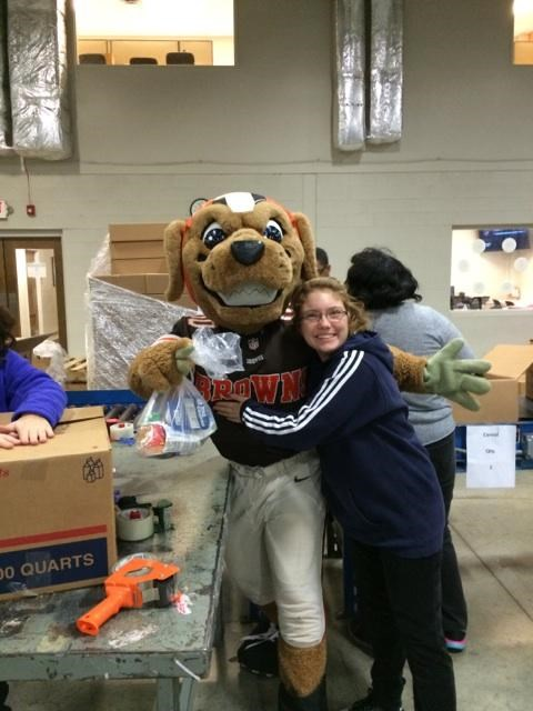 Working with the Browns at the food bank