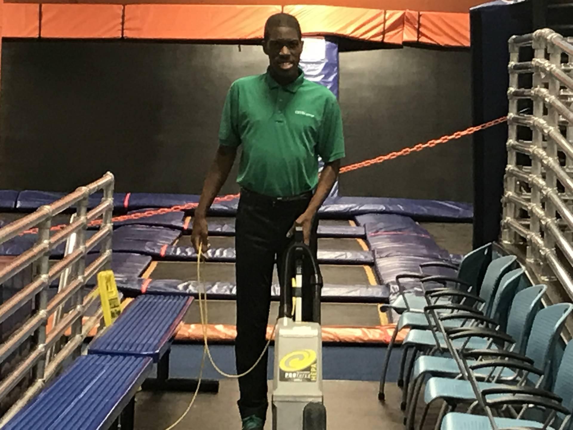 Jaylen Vacuuming at Sky Zone
