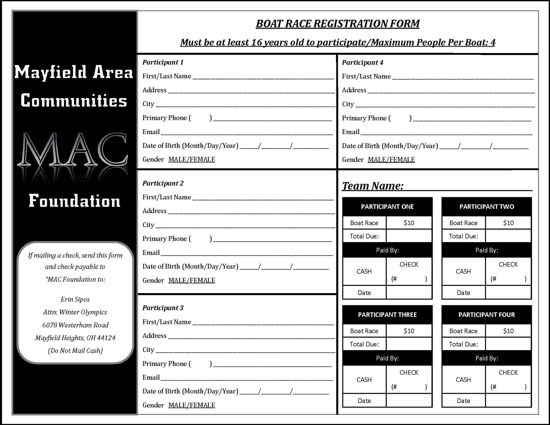 MAC Foundation Cardboard Boat Contest registration page