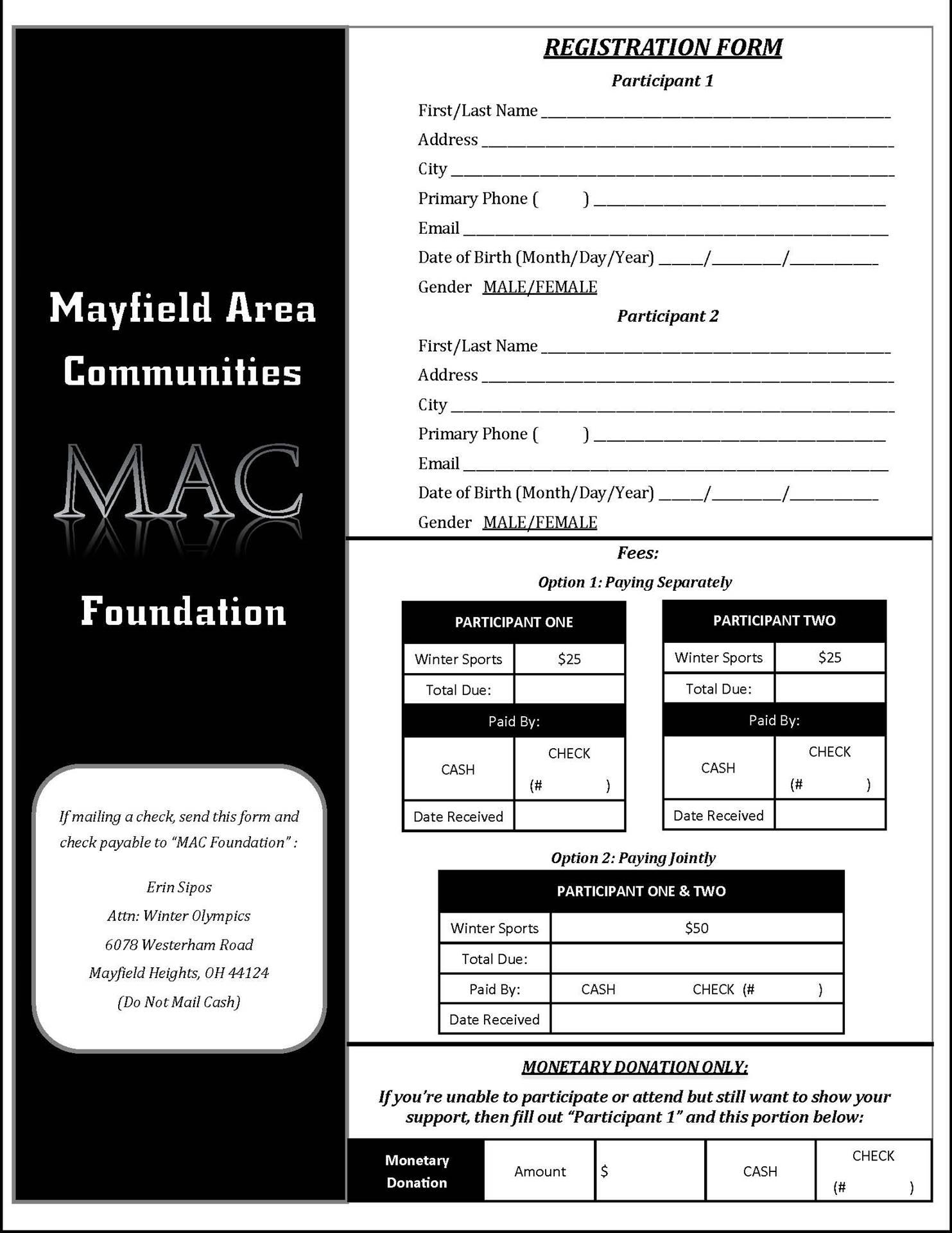 MAC Foundation Winter Olympics registration page