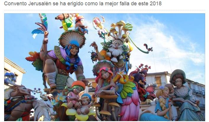 Jerusalem Convent elected as the best Falla of 2018